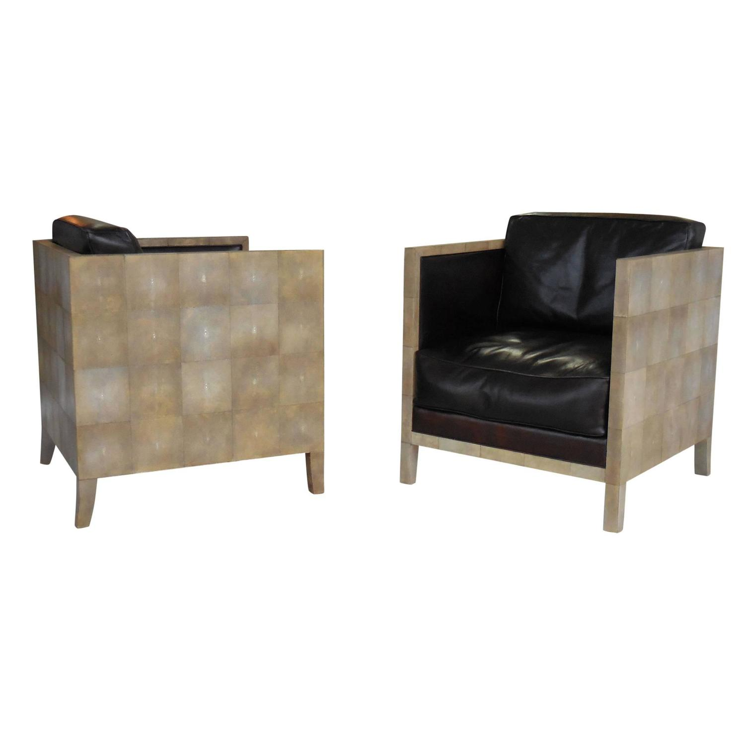 Pair of Jean Michel Frank Style Shagreen Club Chairs at 1stdibs