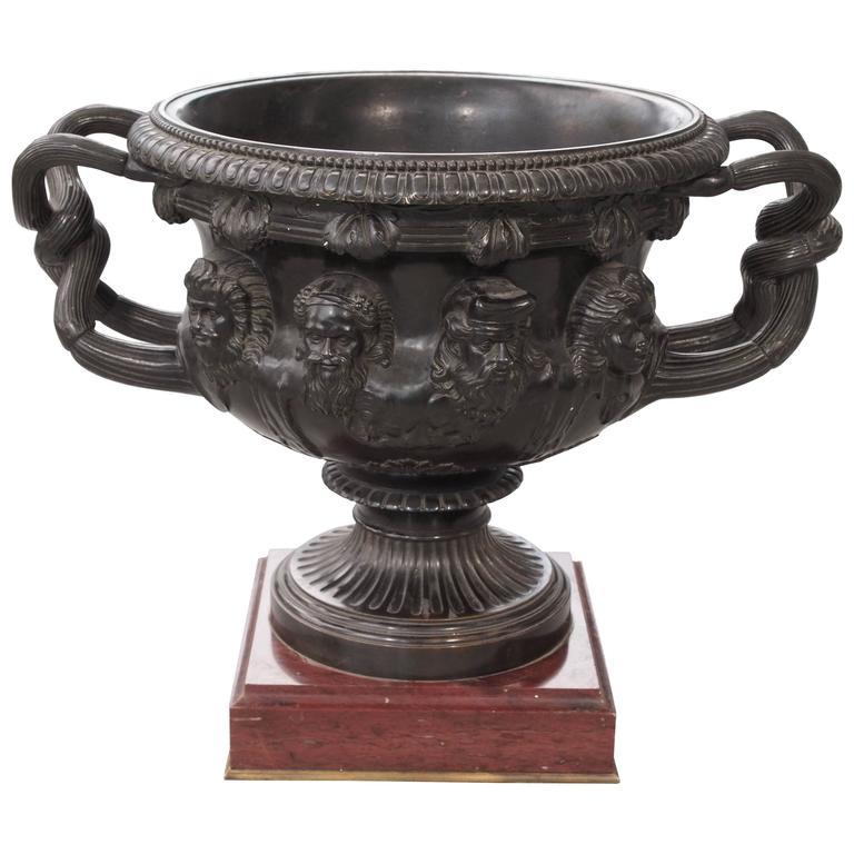 "Monumental Bronze ""Warwick"" Vase on Rouge Marble Base For Sale"