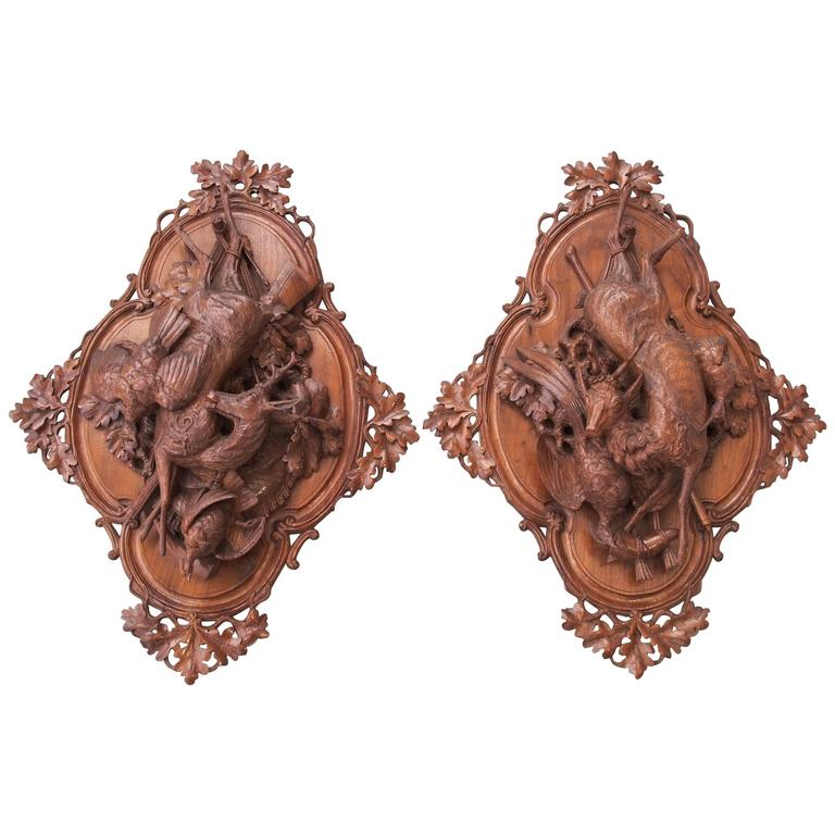 Pair of Black Forest Wall Plaques of Game For Sale