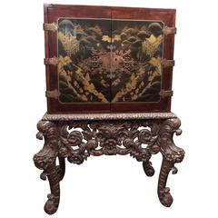 Chinese Chinoiserie Spice Cabinet on Dutch Stand