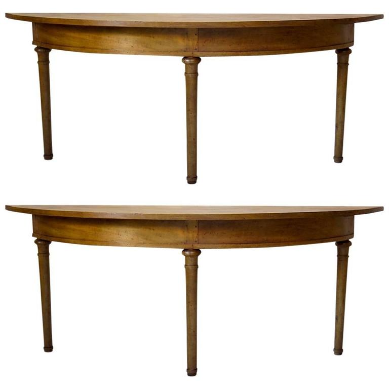Unusual Pair Of Very Elongated Demilune Console Tables, France, Circa 1850s  For Sale