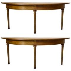Unusual Pair of Very Elongated Demilune Console Tables, France, circa 1850s