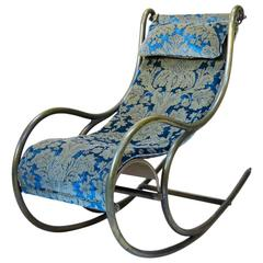 Chunky Brass Rocking Chair with Damask Velvet Upholstery, France, 1900s