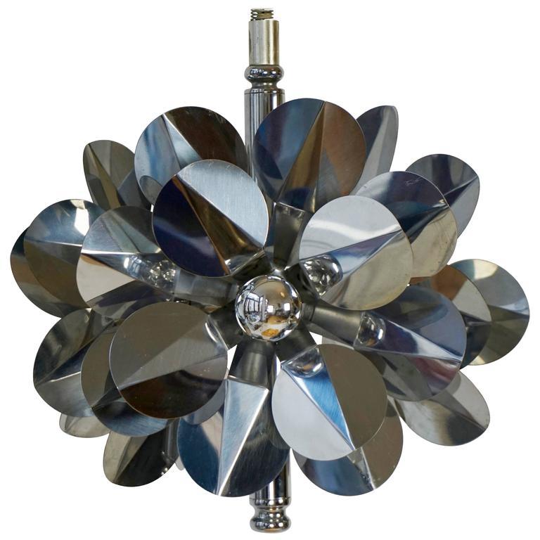 Chrome Flower Chandelier