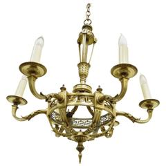 Early 20th Century French Neoclassical Style Bronze Greek Key Chandelier