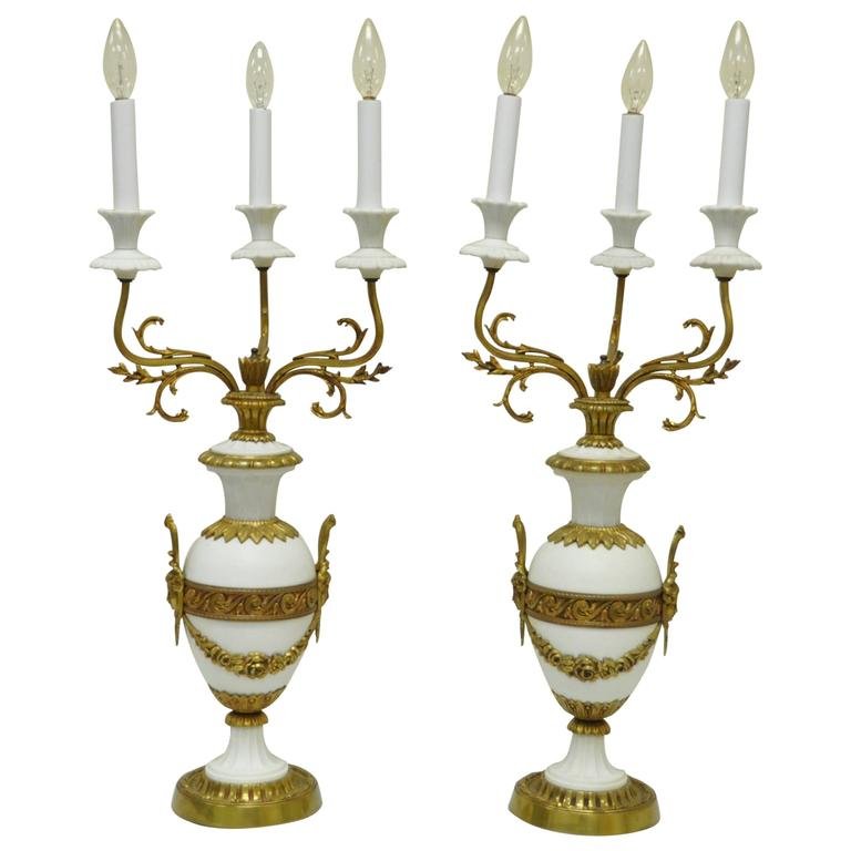 Pair of French Louis XV / XVI Style Bronze and Porcelain Candelabra Table Lamps