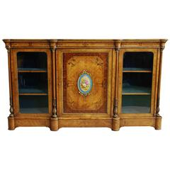 Late 19th Century Superb Burr Walnut and Amboyna Credenza