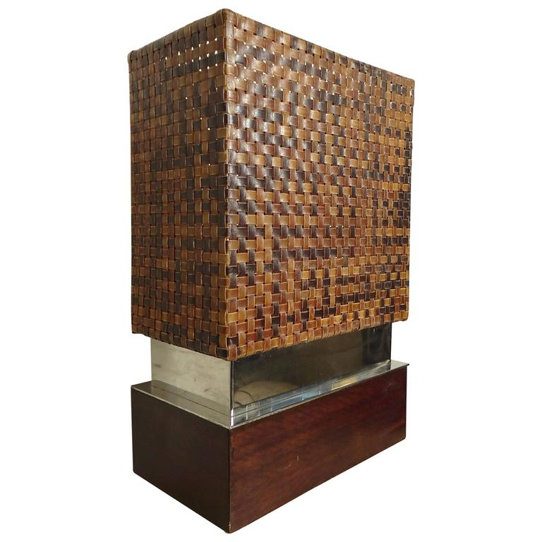 Unique Table Lamp with Woven Leather Shade