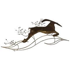 """C. Jere Art Deco Style """"Deer Running"""" Wall Sculpture"""