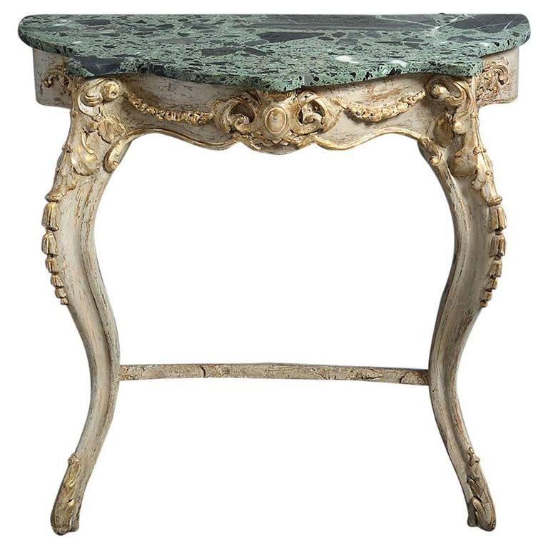 19th Century Rococo Gilded Console Table with Marble Top