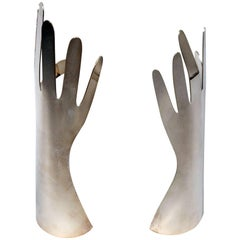 Two Silvered Metal Hands by Gio Ponti for L. Sabattini, 1978, Italy