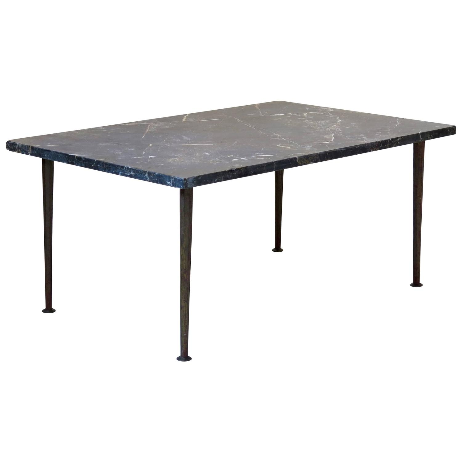 Rectangular Gilt Iron And Black Marble Coffee Table France Circa 1950s For Sale At 1stdibs