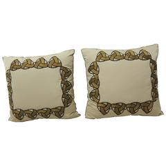 Pair of Silk Golden Appliqué Decorative Art-Deco Pillows