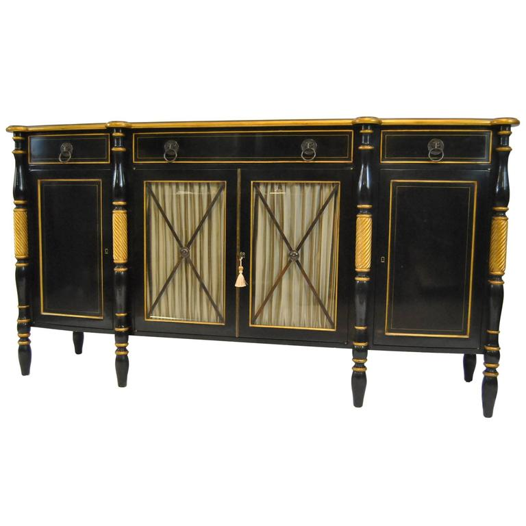 French Empire Style Black Lacquer Buffet With Gold Accent