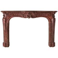 Louis XV Fireplace in Morello Cherry Marble