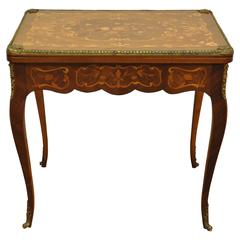 French Louis XV Style Marquetry Inlaid Bronze Flip Top Game or Card Table
