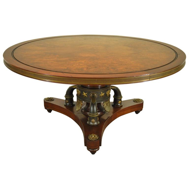 Custom French Neoclassical Or Empire Style Cherry And Burl Wood Coffee Table For Sale At 1stdibs