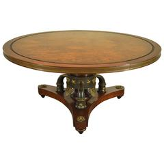 Custom French Neoclassical or Empire Style Cherry & Burl Wood Coffee Table