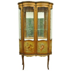 French Louis XV Vernis Martin Curved Glass Double Vitrine Curio Display Cabinet