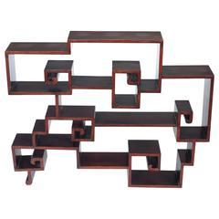 "19th Century Chinese Hongmu ""Key-Fret"" Table Display Shelf"