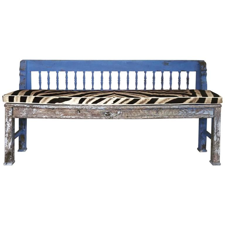 Vintage Blue Farmhouse Bench With Zebra Hide Cushion At