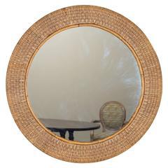 Vintage Round Woven Rattan Mirror, France, circa 1930