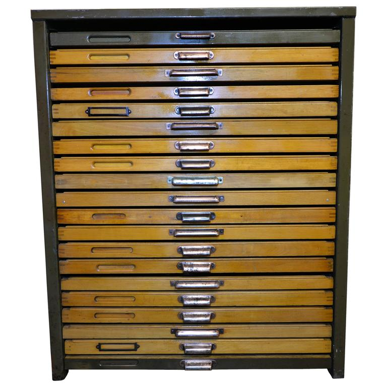 1920s Letterpress Printers Cabinet with Types at 1stdibs