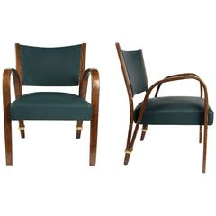"""Elegant Pair of """"Bow-Wood"""" Armchairs by Steiner, 1950s"""