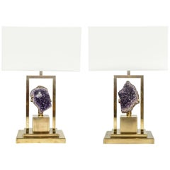 Small and Elegant Pair of Amethyst and Brass Lamps