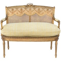 Fine 19th Century French Louis XVI Giltwood Settee with Caning