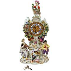Meissen Gorgeous Mantle Table Clock Sculptured Figurines Flowers, circa 1870