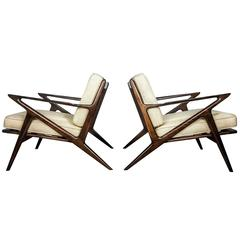 Pair of Sculptural Lounge Chairs by Poul Jensen for Selig, Denmark 1950s