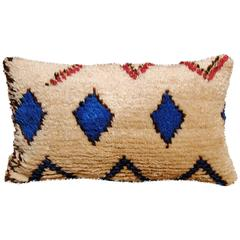 Moroccan Hand-Loomed Wool Azilal Pillow, Blue Diamonds
