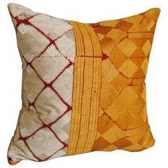 Silk Embroidered Vintage Phulkari Bagh Pillow, Punjab, India