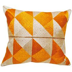 Phulkari Bagh Silk Embroidered Wedding Shawl Pillow, Punjab, India