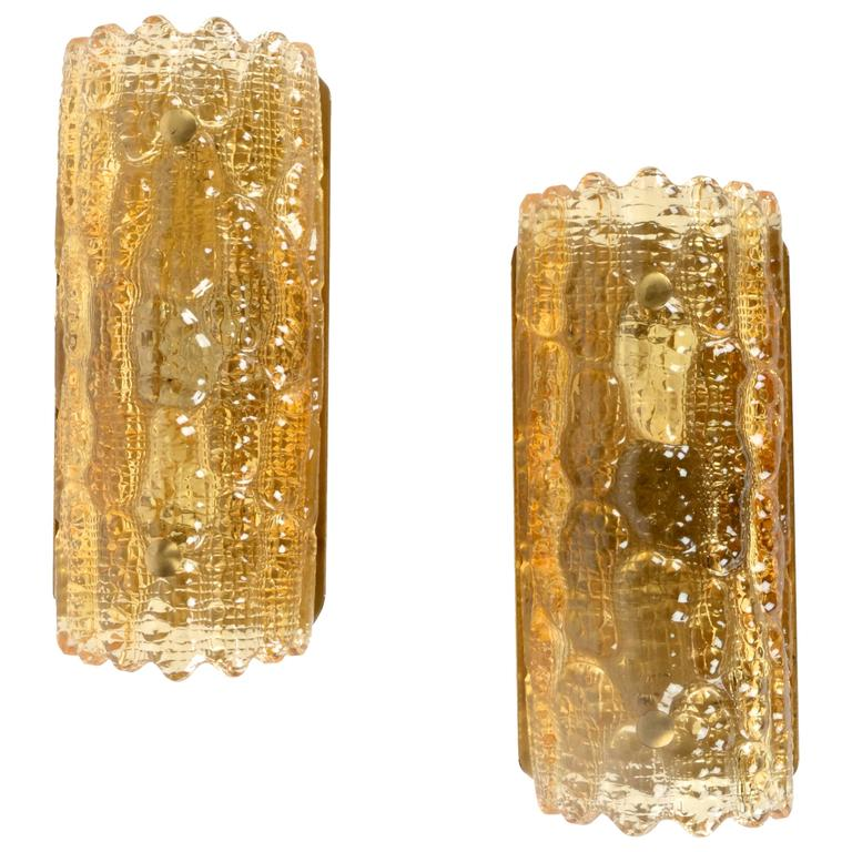 A Pair of Wall Fixtures / Sconces, Carl Fagerlund for Orrefors, Sweden For Sale