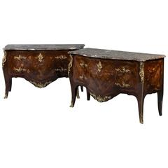 Pair Marquetry Commodes
