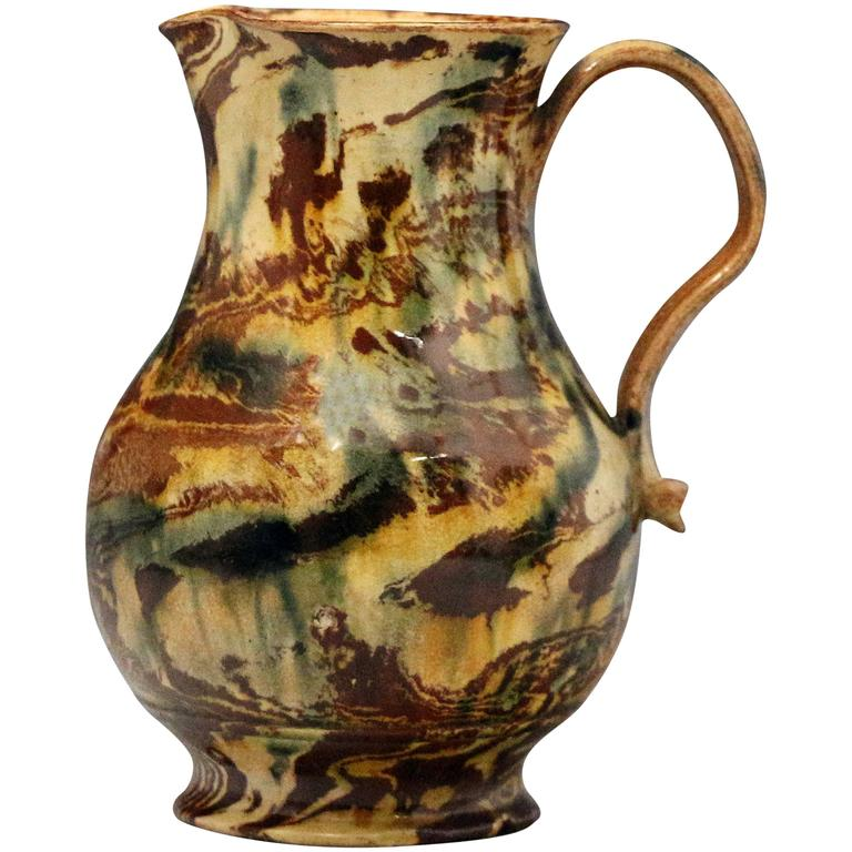 Staffordshire Pottery Agateware Jug Mid 18th Century