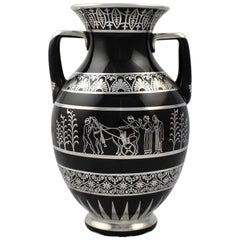 Rare Rockwell Art Deco Period Greek Revival Silver Overlay Black Glass Vase