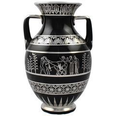 Rare Rockwell Art Deco Period Greek Revival Silver Overlay Black Glass Vase