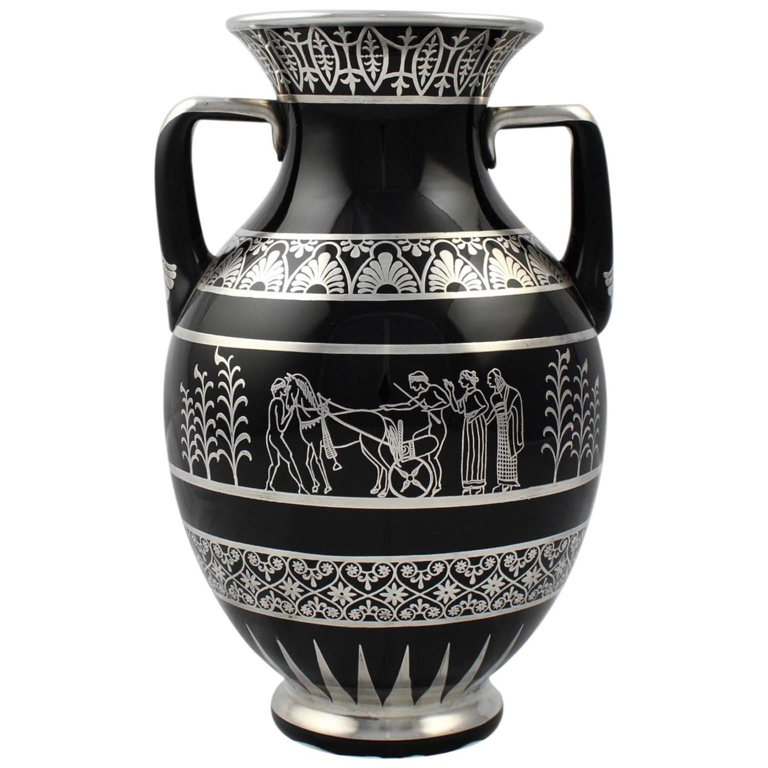 Rare rockwell art deco period greek revival silver overlay black rare rockwell art deco period greek revival silver overlay black glass vase for sale at 1stdibs reviewsmspy