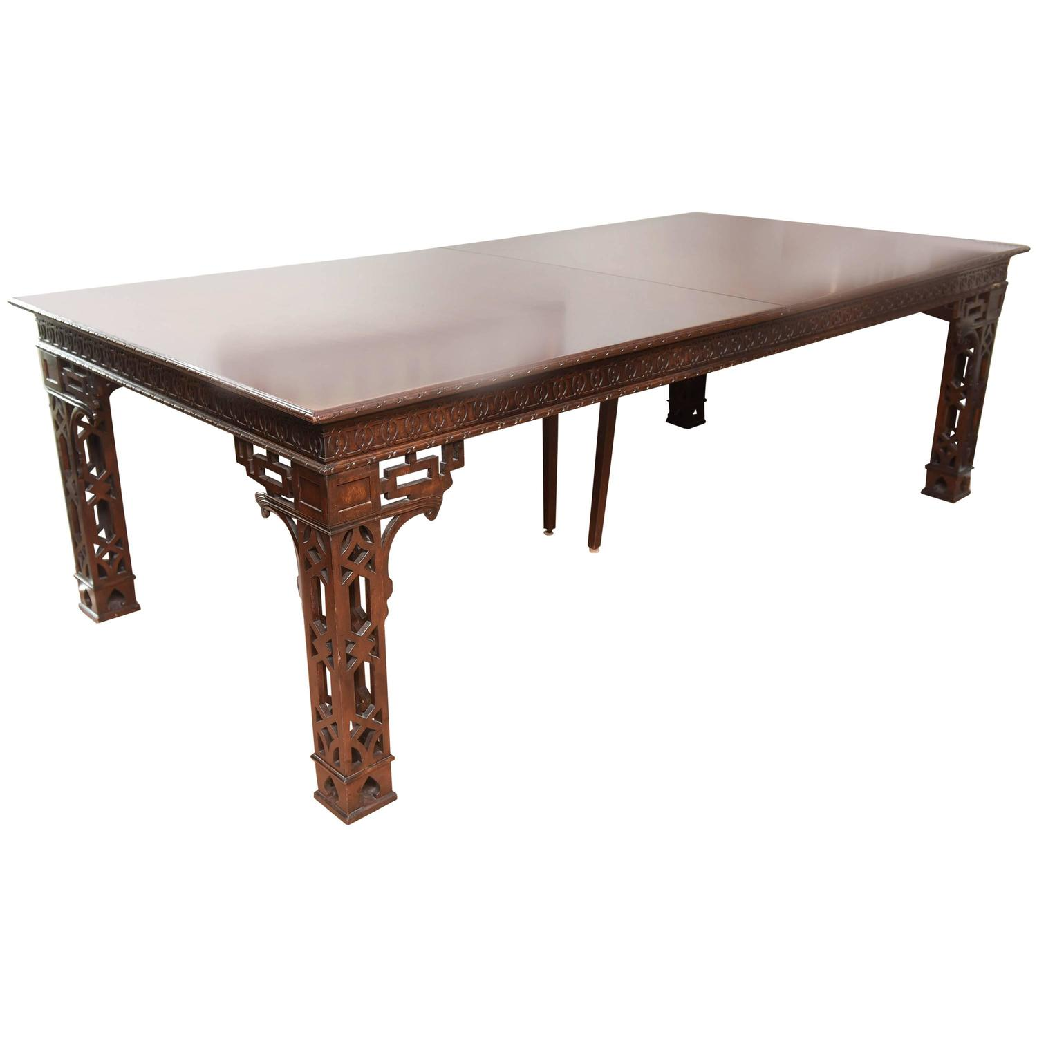 Vintage chinese chippendale dining conference table for for Antique chinese tables for sale