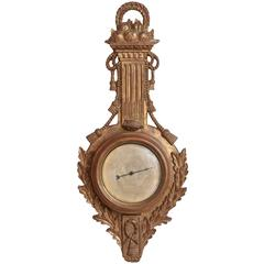 Rope and Swag Gilded Carved Wood Palladio Barometer