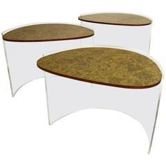 Vladimir Kagan Lucite and Burl Nesting Tables