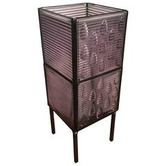 Table Lamp Made from Glass Luxfer Tiles on Steel Stand
