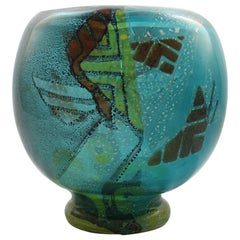 Large Blue Muller Freres Luneville French Art Deco Intercalaire Art Glass Vase