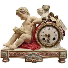 19th Century Meissen Porcelain Cherub Mantel Clock