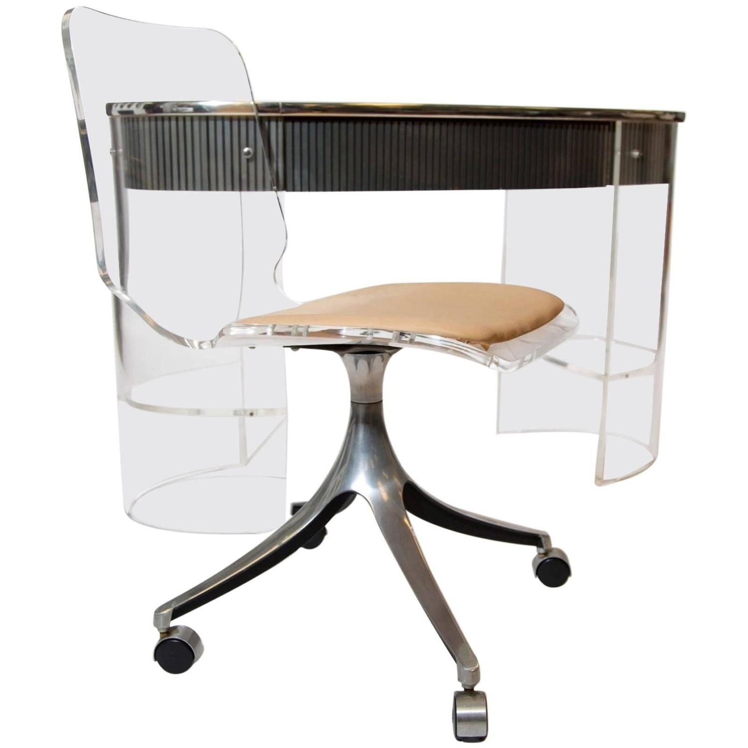 Hill manufacturing lucite desk with matching lucite chair for Perspex desk