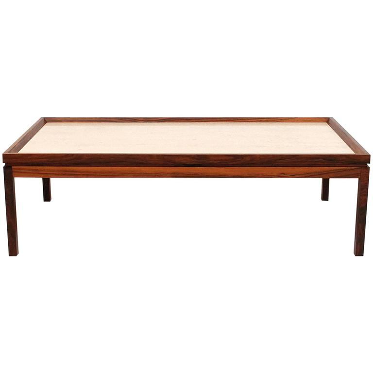 Danish Rosewood And Travertine Coffee Table For Sale