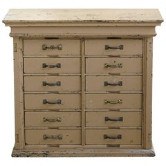 Original Paint 12-Drawer Cabinet in a Distressed Look